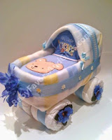 blue carriage Diaper cakes