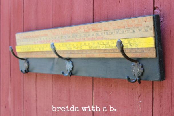 Yardstick coat rack by breida with a b, featured on Funky Junk Interiors