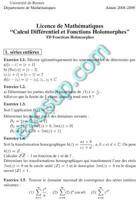 exercices analyse complexe Licence de Mathématiques UR1