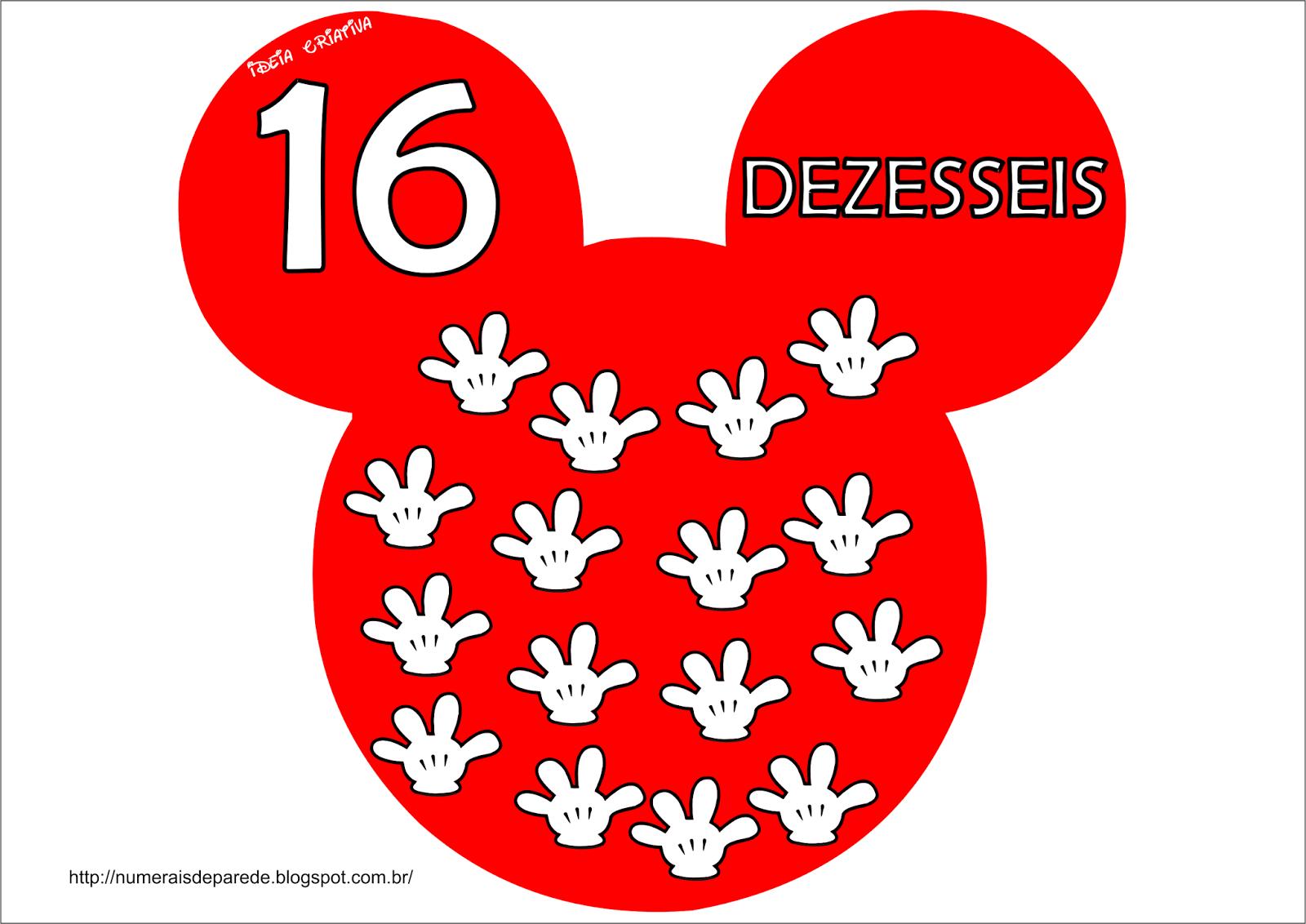 Numerais de Parede Mickey Mouse zero a vinte