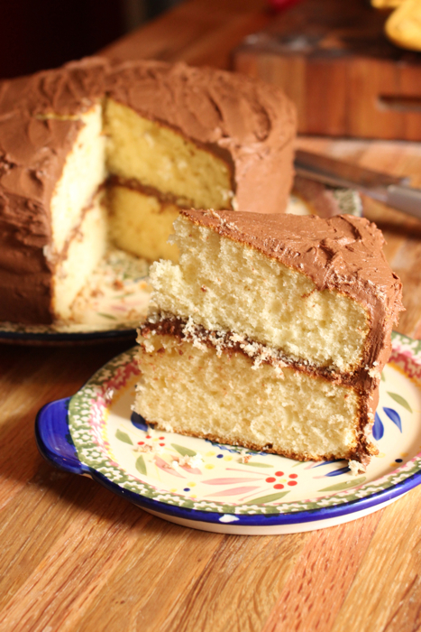 Old Fashioned Yellow Cake With Chocolate Fudge Icing