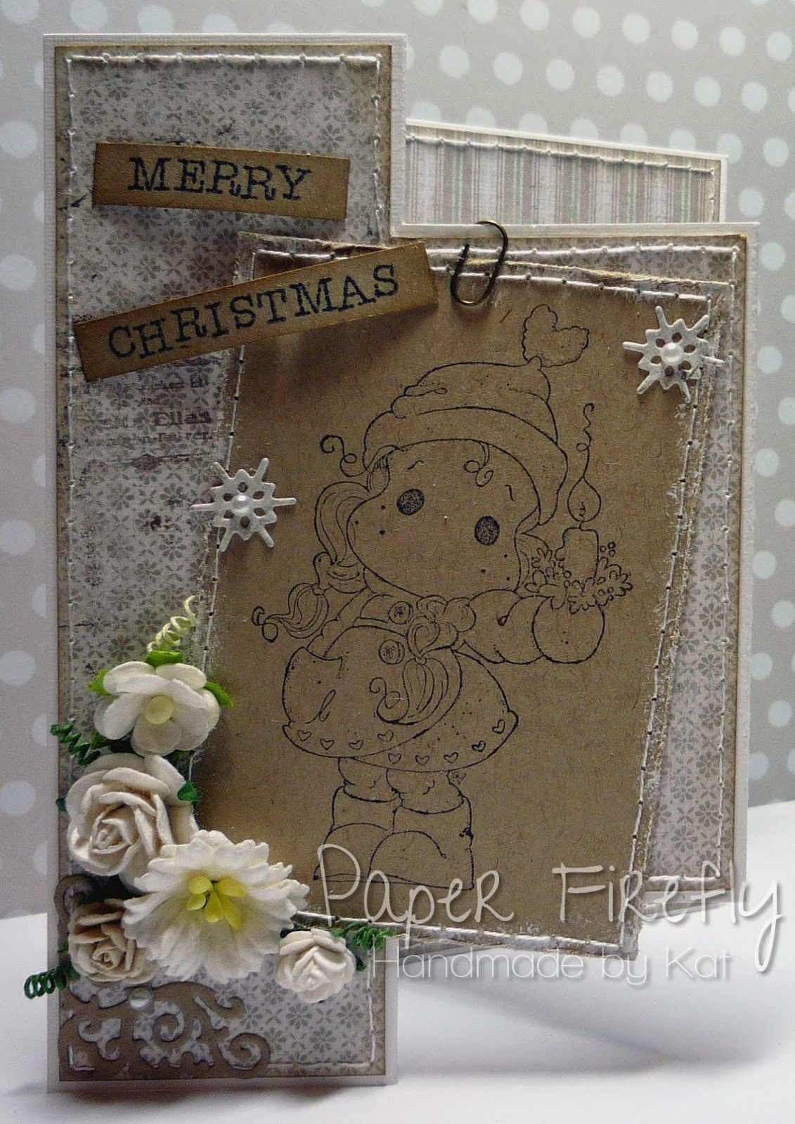 Christmas Tilda stamped on Kraft card, part of a tri-fold shutter card