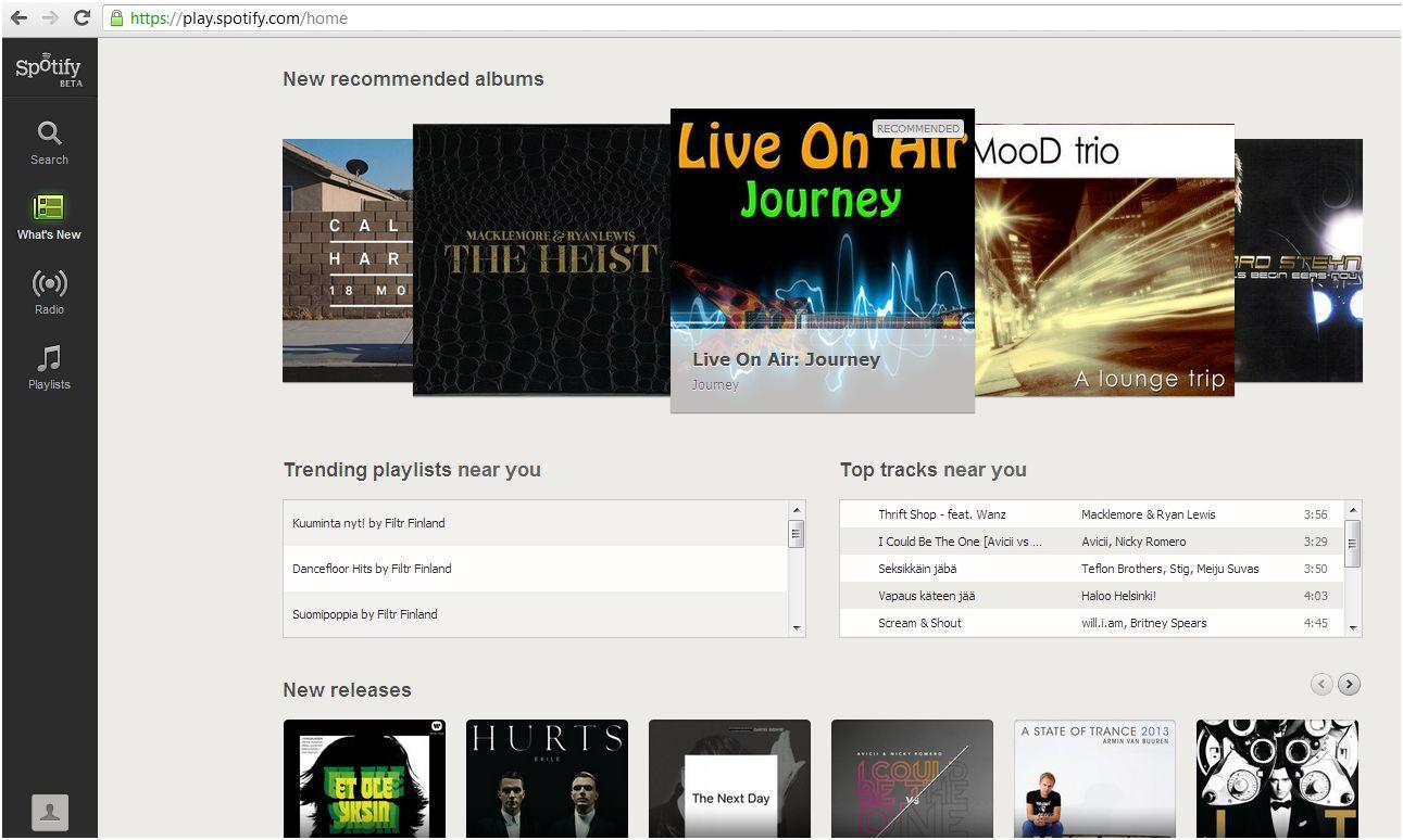 Taitokone: Spotify Web Playerin käyttöönotto