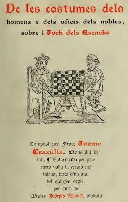 Portada del libro De les costums dels homes i oficis dels noble, de Jacobus de Cessulis