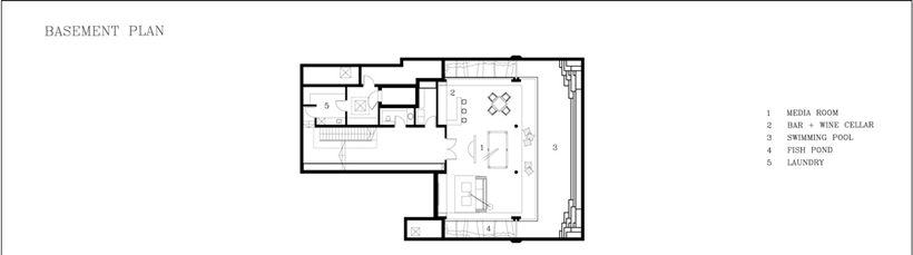 Basement floor plan of Amazing home with impressive green roof, Singapore