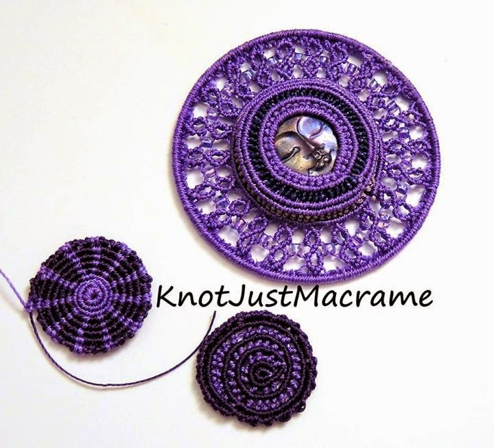 Knotted micro macrame circles by Sherri Stokey of Knot Just Macrame