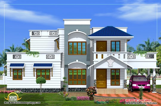 duplex house elevation 2200 sq ft kerala home design