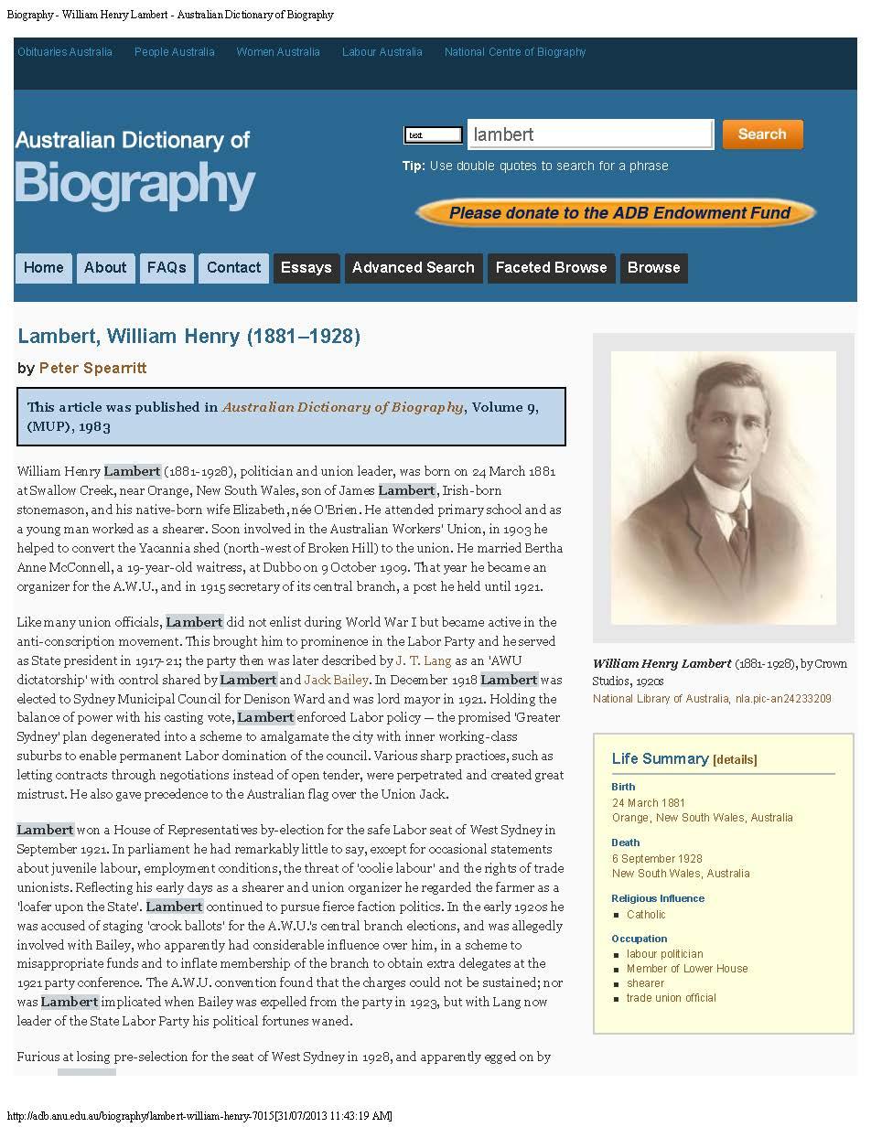 Dictionary of Australian Biography G