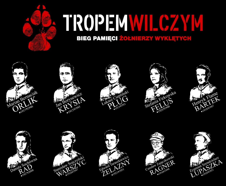 Typy  Bohaterów na koszulkach upamiętnianych podczas IV edycji TROPEM WILCZYM