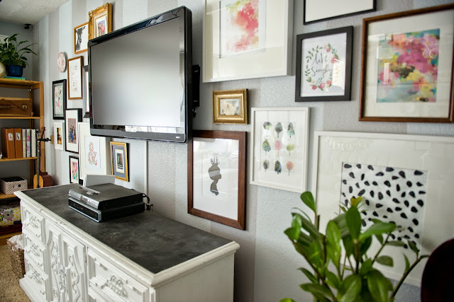 Decorating around the tv and styling and open shelf.