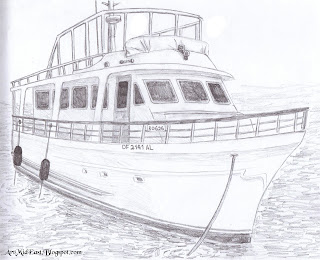 how to draw a boat on a lake