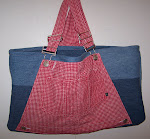 Red Checkered Denim Blue Jeans Bib Overall Tote Bag