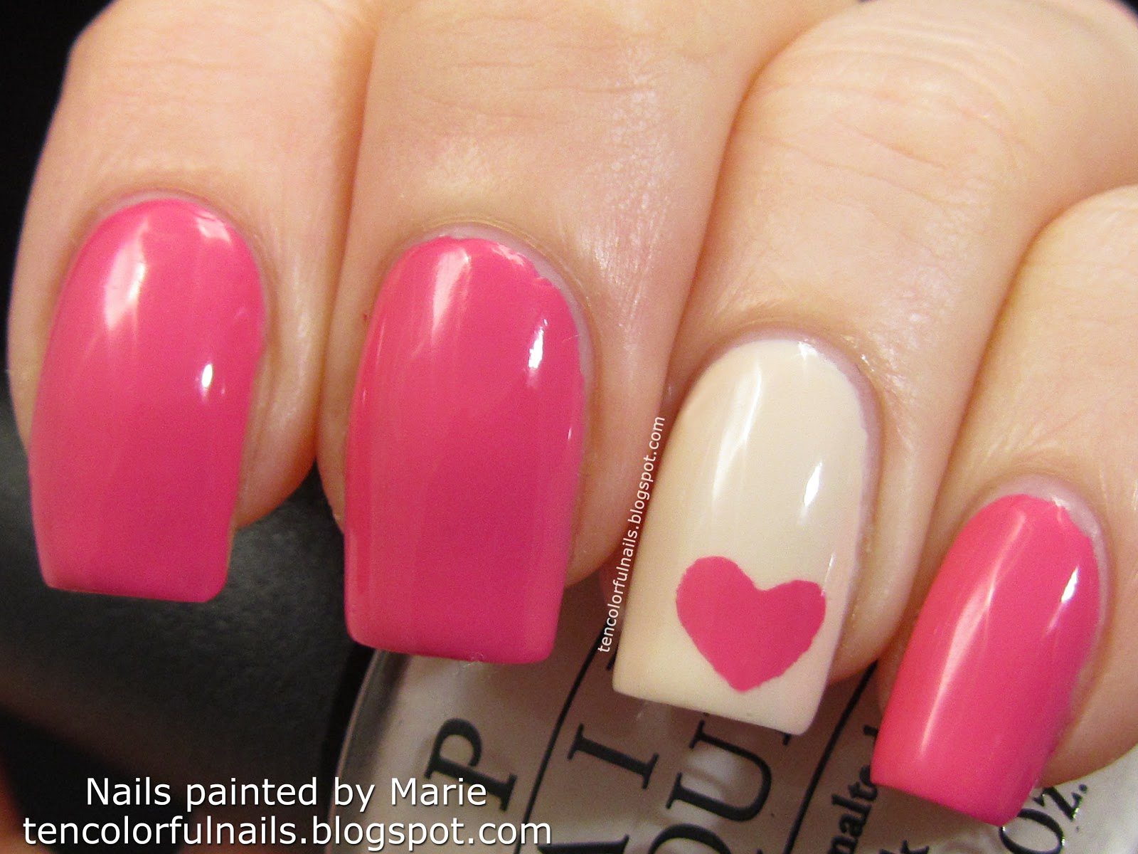 Ten Colorful Nails Pink Heart Nail Art