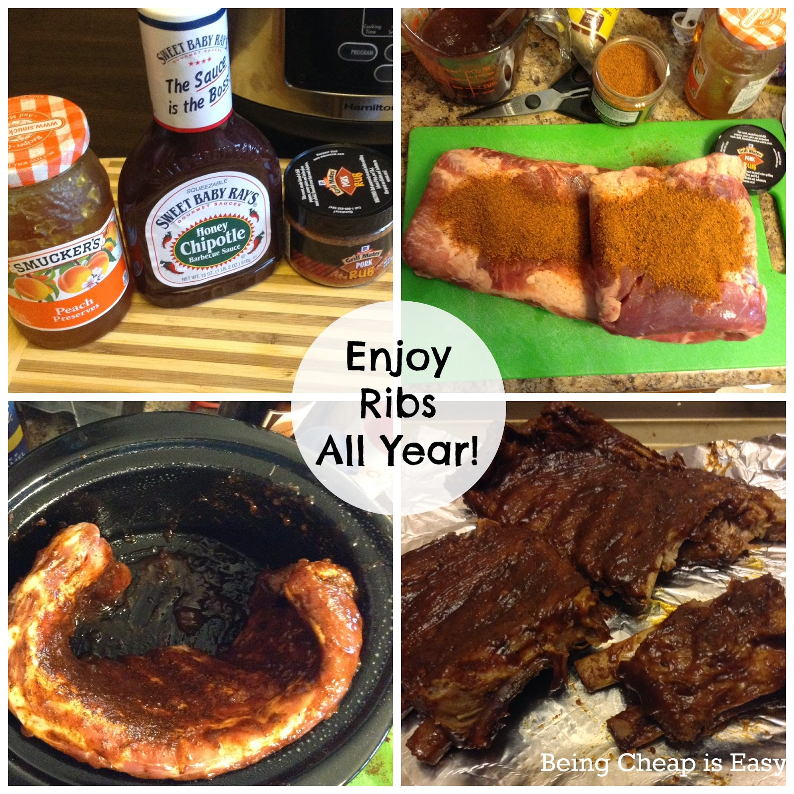 #SlowCookerMeals, Ribs, BBQ, Sweet Baby Ray's, Chipolte, Smuckers