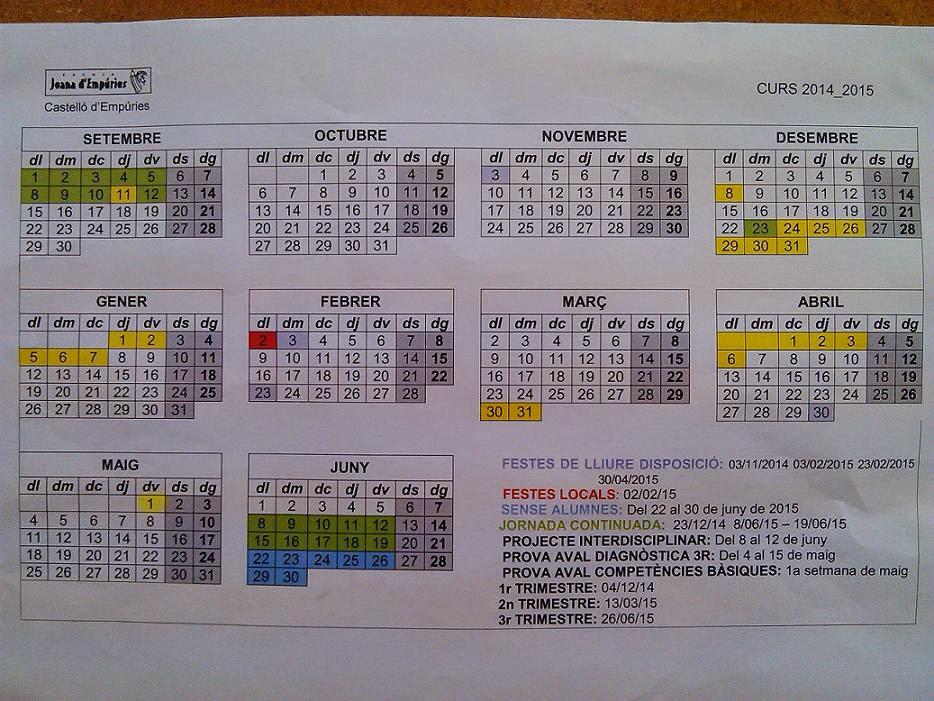 Calendari curs 2014 -15