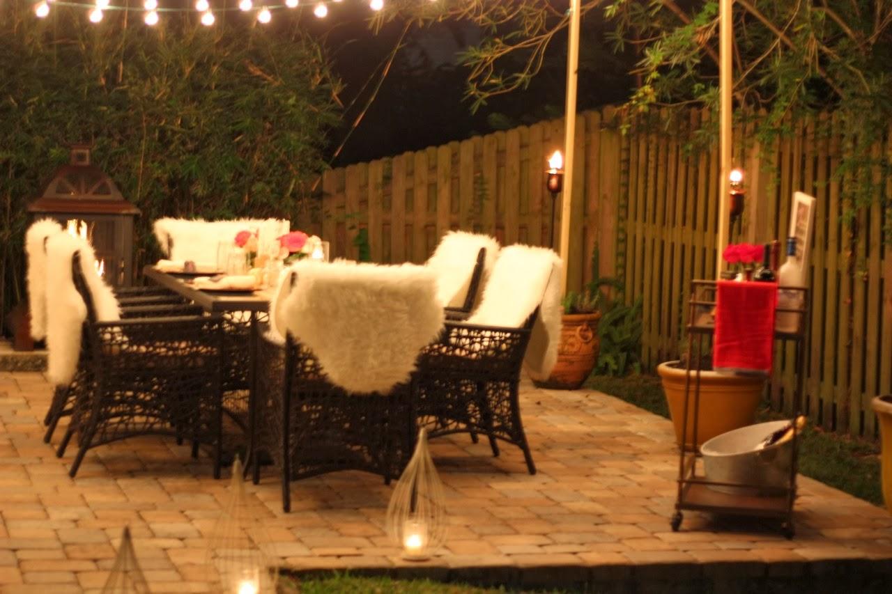 fall dinner party outdoor cafe lights bar cart