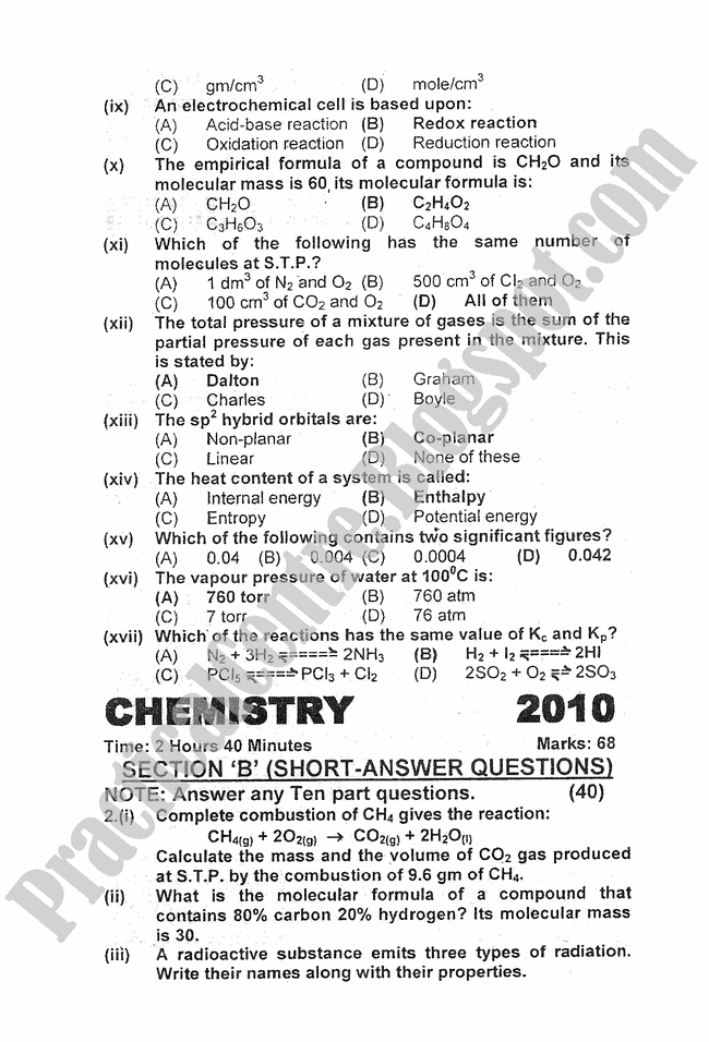 chemistry-2010-five-year-paper-class-XI