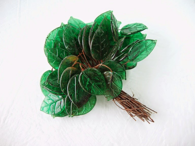 antique vintage glass leaves from Czech with wire stems 1920 1930