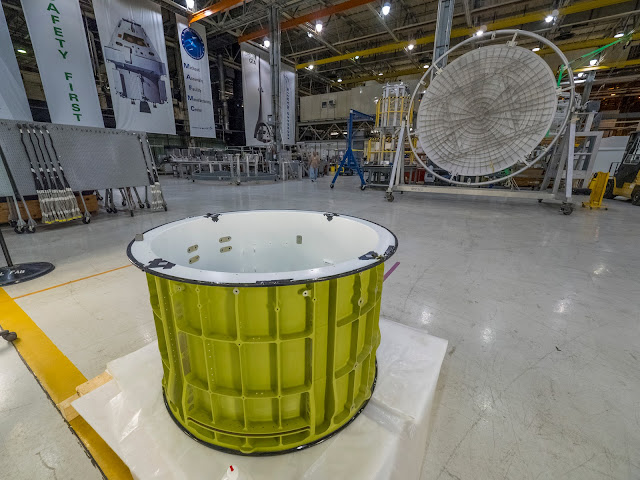 Pieces of the Orion spacecraft that will fly on Exploration Mission-1 already are being prepared for welding at NASA's Michoud Assembly Facility in New Orleans. Credit: NASA
