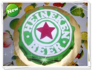 Heineken beer fondant 3D cake