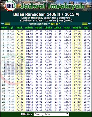 Jadwal puasa imsyak buka ramadhan 2015