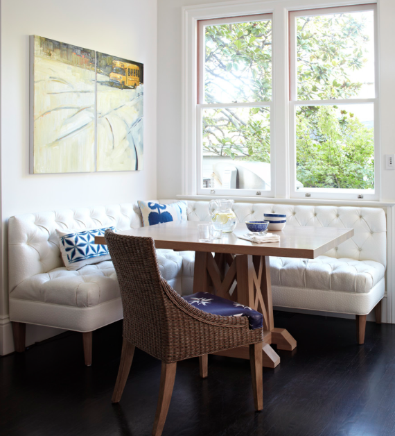 Classic with a twist: banquette seating in kitchen and dining spaces