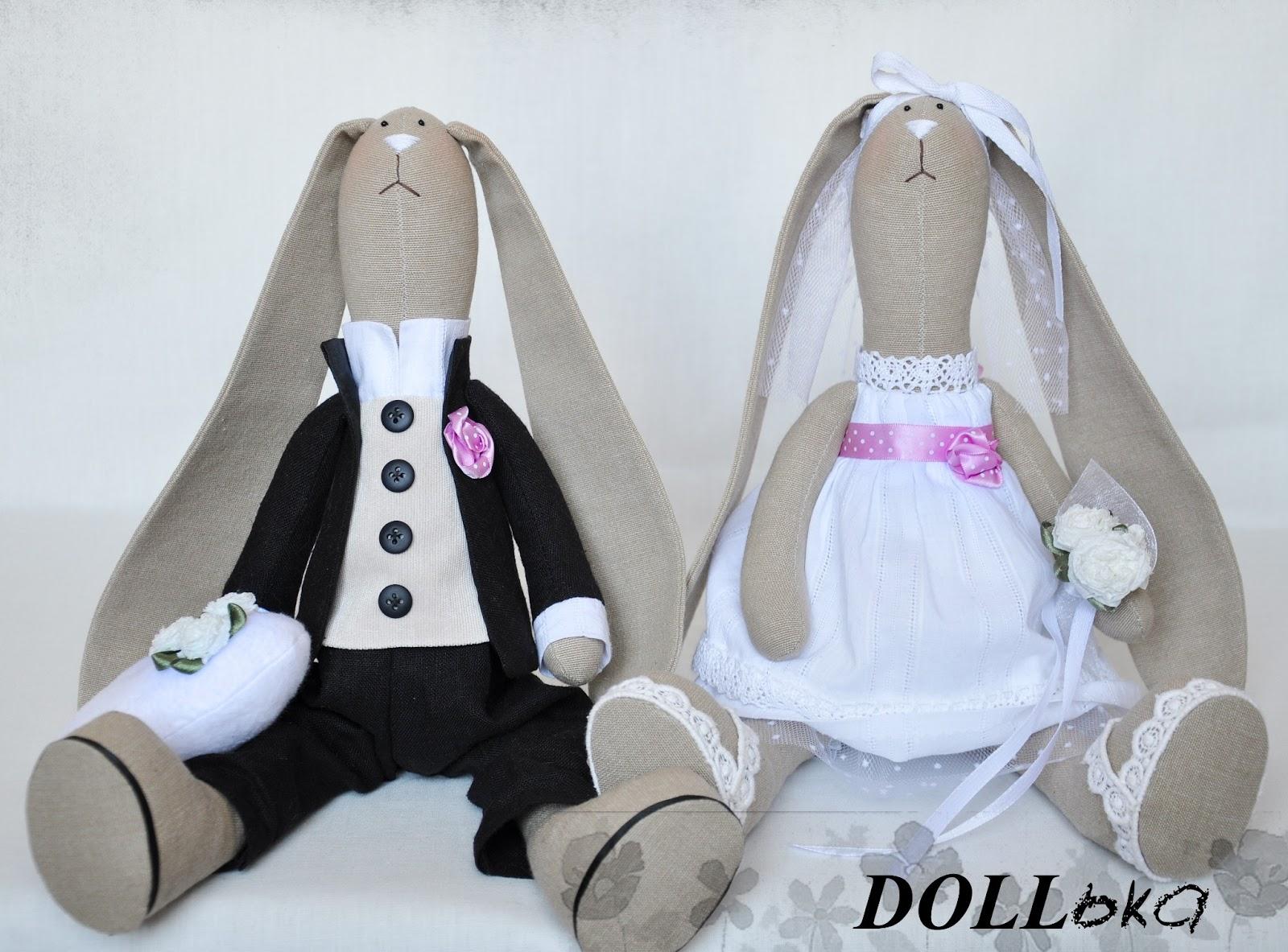 Свадебные зайцы текстильные игрушки ручной работы
