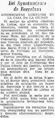 Recorte de prensa Mundo Deportivo sobre el Match Internacional de Ajedrez Interclubs 1951