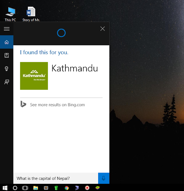 How to Find Capital of Countries using Cortana on Windows 10