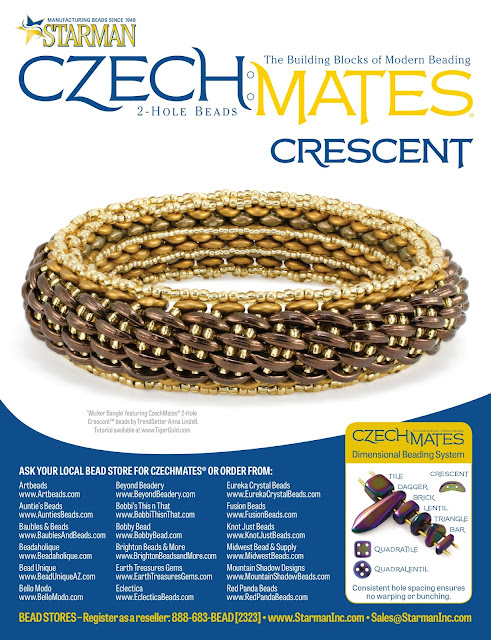 Starman CzechMates 2-Hole Crescent bead -- Wicker Bangle by Anna Lindell