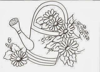 desenho de regador com margaridas para pintar
