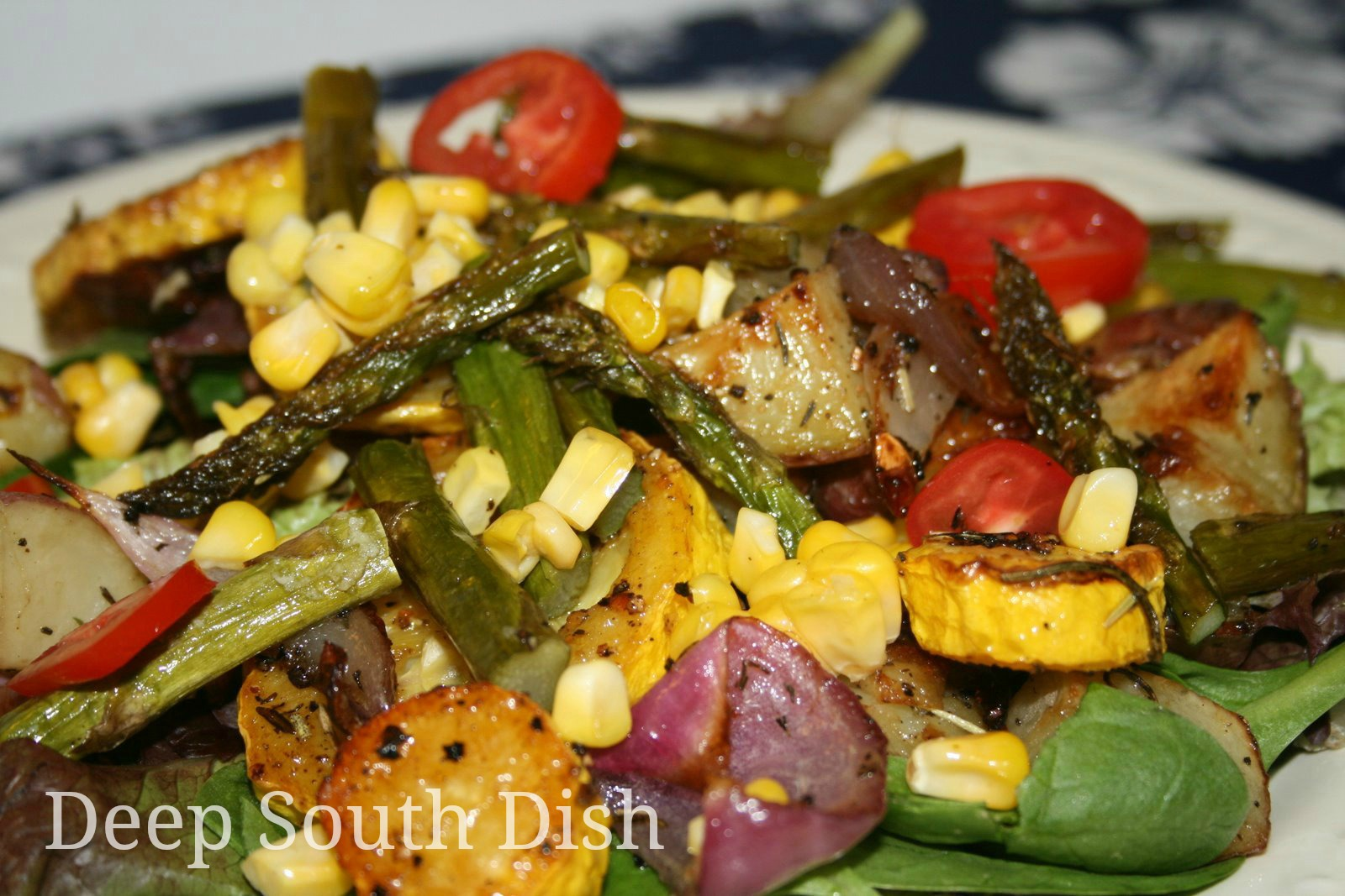 Deep south dish grilled or roasted vegetable spinach salad with warm bacon dressing - Make perfect grilled vegetables ...
