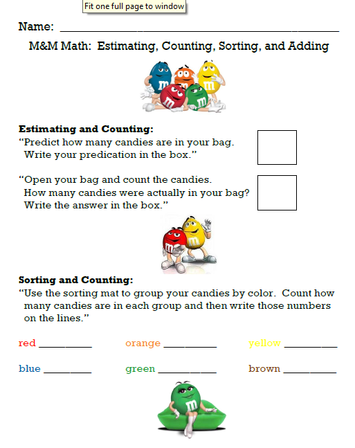 Mrs Ungers Unbelievable Elementary Experiences MampM Math and a – Mandm Fraction Worksheet