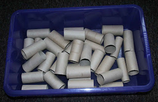 Toilet rolls being collected for use as planters for carrots and parsnips. The tray they are in will be the water resevoir
