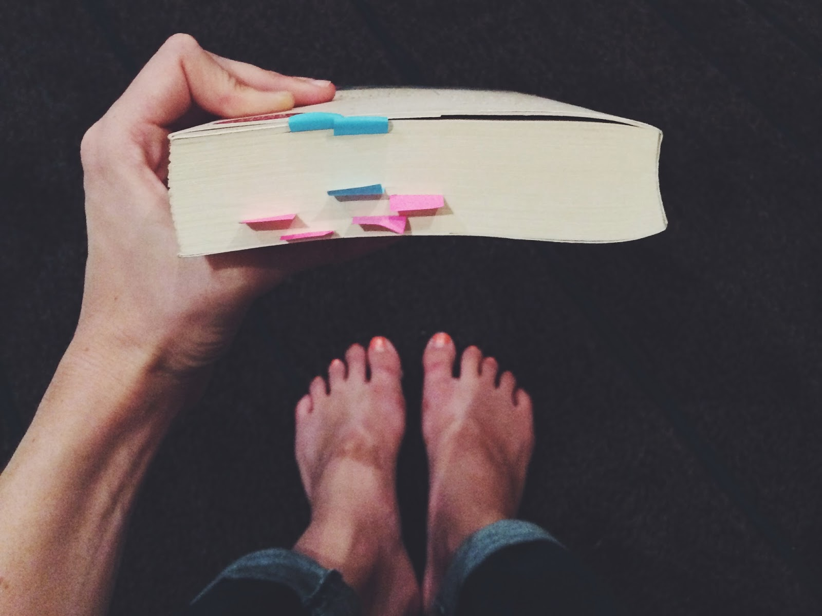 Top view of a book with post-it flags in it