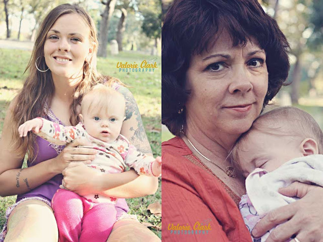 right: a mom and her daughter, left: a grandma and her granddaughter