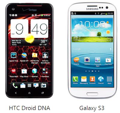 compare samsung galaxy s3 vs htc droid dna