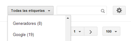 Lista desplegable para filtrar etiquetas en la interfaz de Blogger