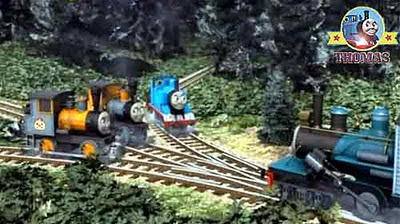 Thomas the train engine at Jobi log lumber-yard with Misty Island Bash Dash and Ferdinand the train