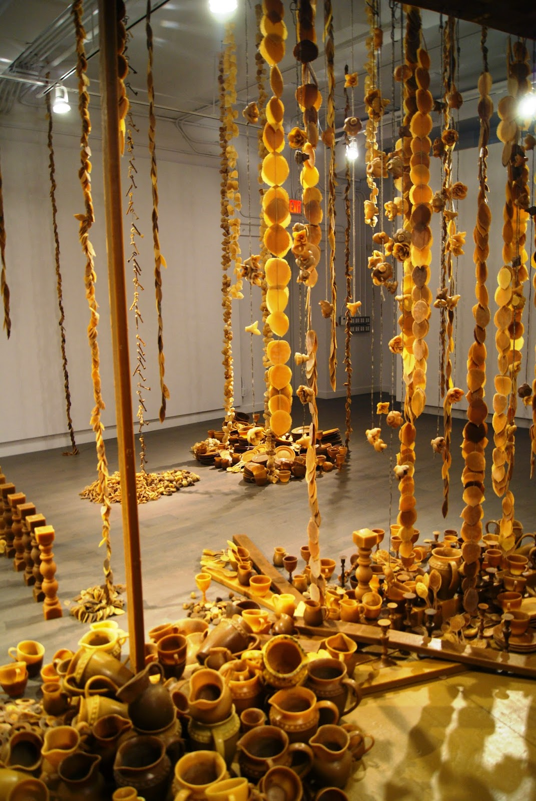Vanitas Beeswax Art Installation by Penelope Stewart. at Koffler Gallery in Artscape Youngplace, Toronto, Culture, Exhibit, Exhibition, Bees, Beehive, Stiil life, Ontario, Canada, Melanie_ps, The Purple Scarf