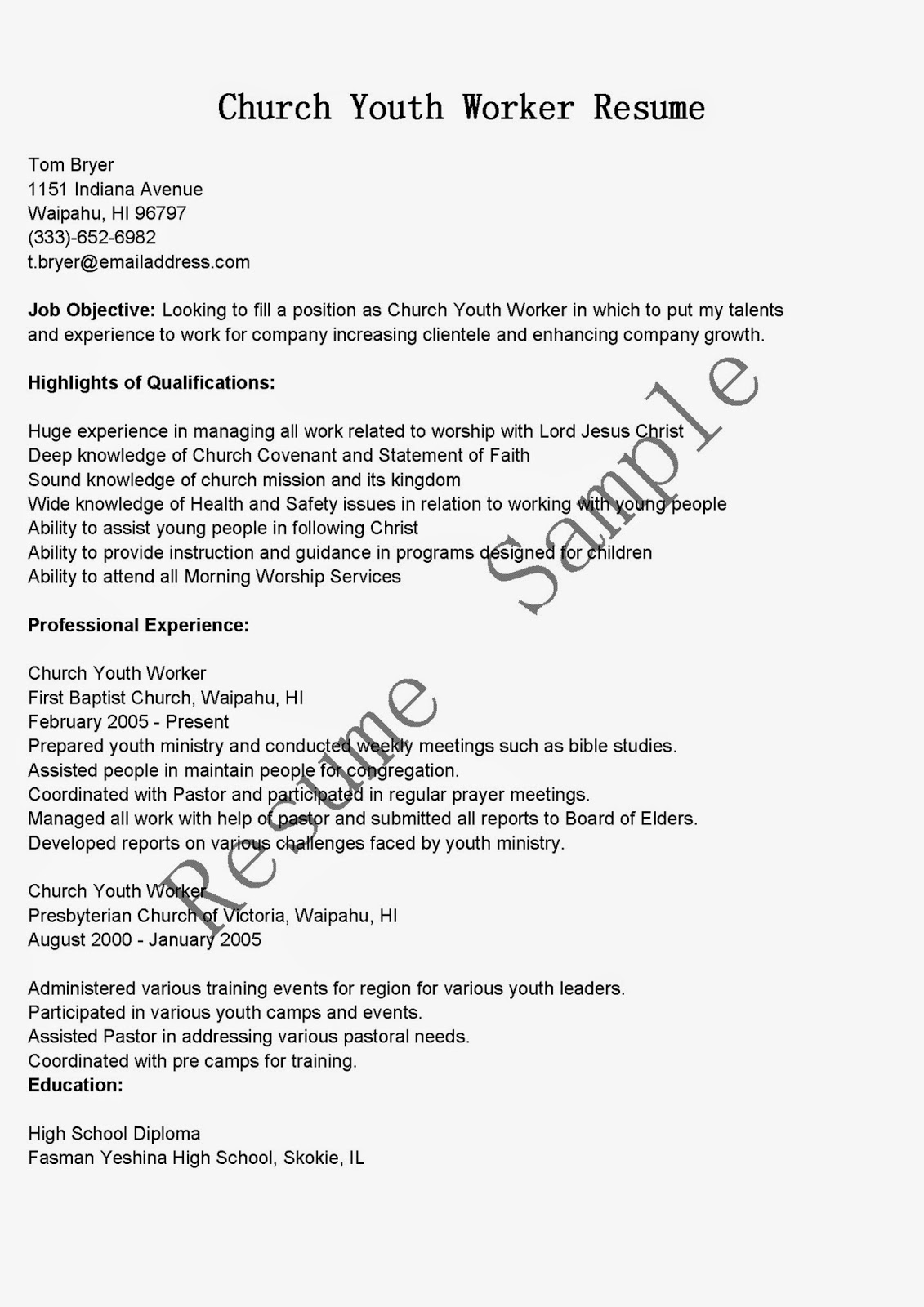 resume samples  church youth worker resume sample