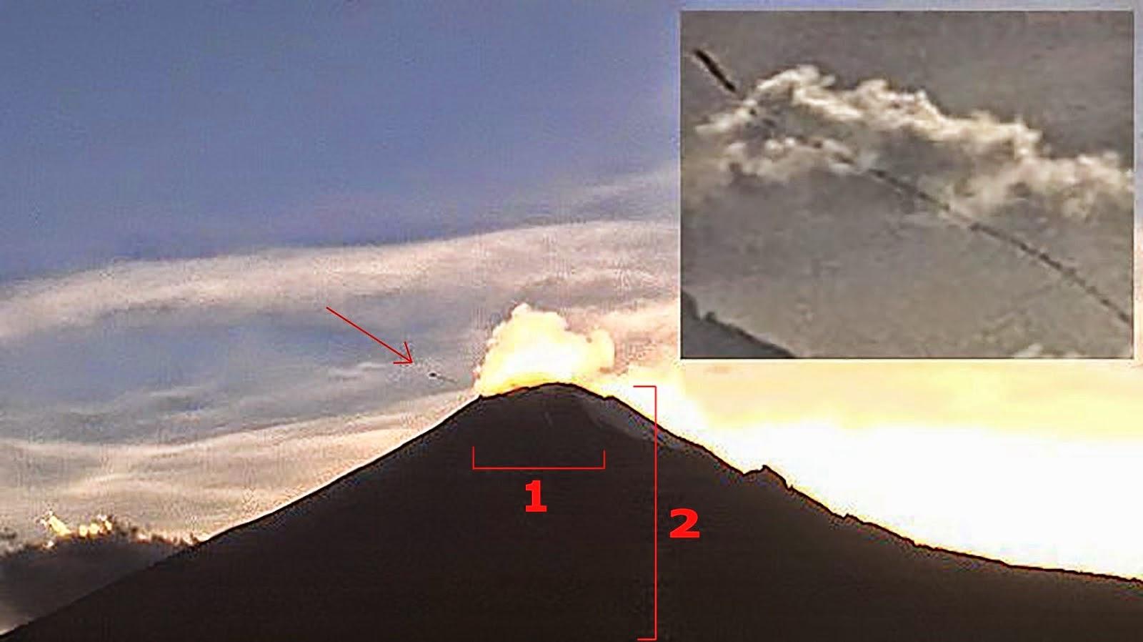 OVNI au-dessus du volcan Popocatépetl au Mexique, le 25 octobre 2014, 07:00 p.m.