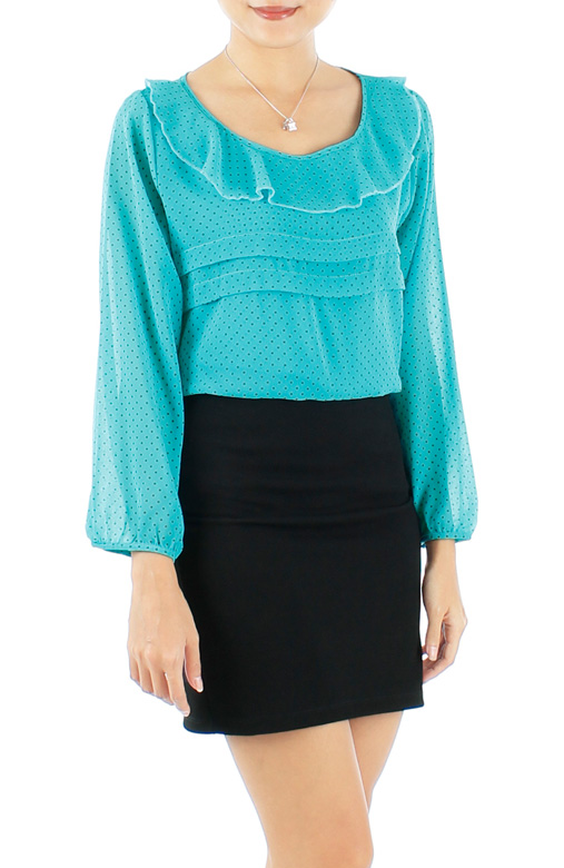 Dove Ruffle Spotted Long Sleeve Top