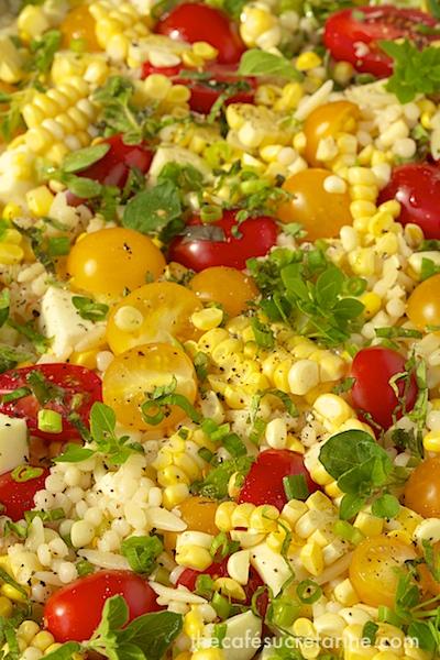 ... Couscous & Orzo Salad w/ Fresh Mozzarella, Corn & Cherry Tomatoes