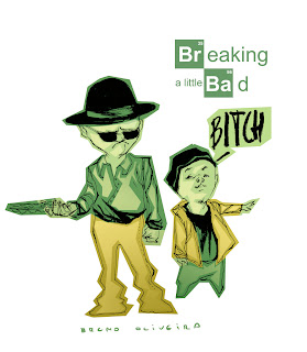 This is the color version of the main characters of Breaking Bad as kids done by Bruno Oliveira