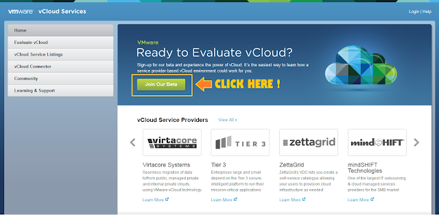 vmware vCloud service evaluation beta