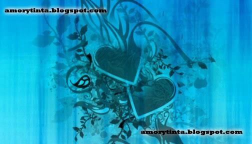 corazon negro con fondo azul