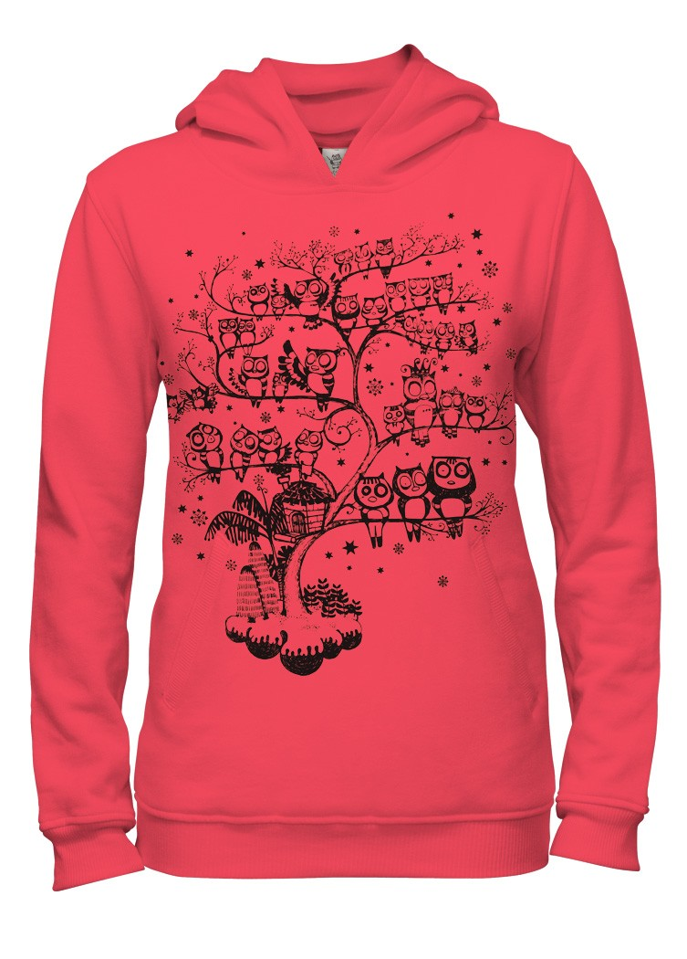 filename red owls tree girls hoodiejpg