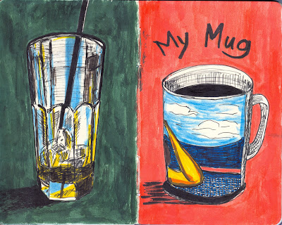Beverage Receptacles - Left: Drinking Glass; Right: My Favourite Mug - Ink and Watercolour by Ana Tirolese ©2012