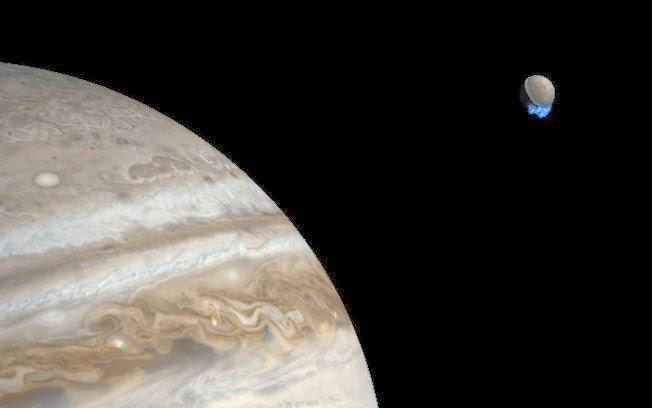 Hubble capta imagens de vapor d'água em lua de Jupiter